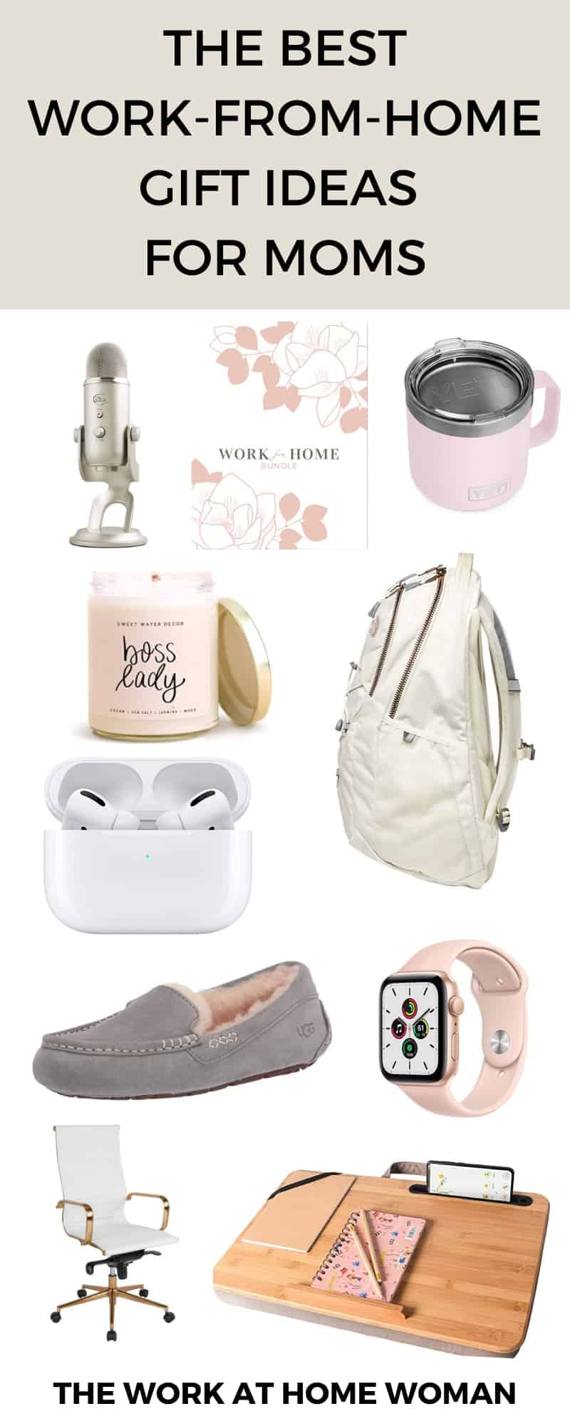 If you're looking for the perfect present for the work-from-home mom in your life, check out this list of unique gift ideas perfect for moms! #giftguide #ideas #workfromhome via @TheWorkatHomeWoman