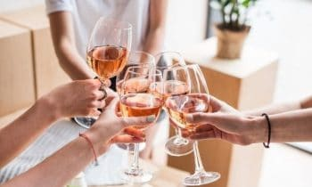 Women drinking wine at home for blog post wine tasting business
