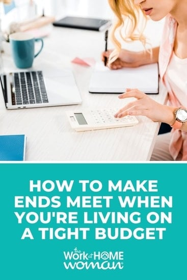 Here are five ways to make ends meet while on a tight budget. These steps will help you to go from struggling to secure in just a few steps. via @TheWorkatHomeWoman