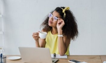 Business woman working online in home office