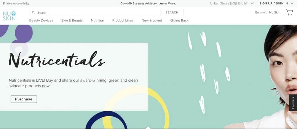 beauty business - nu skin website