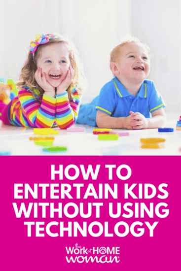One of the biggest challenges for work-at-home moms is finding non-tech solutions to keep their kids busy while getting some work done. Here are ten simple ways for work-at-home moms to entertain their children, and best of all they don't require any technology. #notech #kids #wahm #workfromhome via @TheWorkatHomeWoman