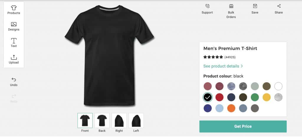 Image of Spreadshirt's design platform, showing product, color, and design selection options.