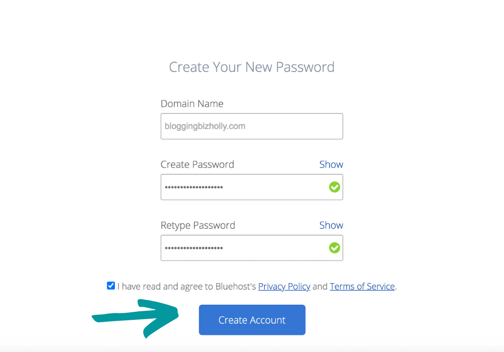 create your password on bluehost